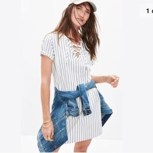 Madewell striped lace up dress
